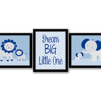 Dream Big Little One, Set of 3, Elephants, Kids Room, Nursery Decor, Kids Wall Art, Blue Nursery, Printable Art, Lions, INSTANT DOWNLOAD