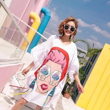 High Quality 2019 Summer Women Cartoon Sequin Dress Print Asymmetrical Dresses Loose Casual Tassel Irregular T Shirt Dress