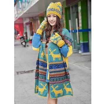 Womens Knitted Ski Cap Hat Scarf Warm Wrap Set Christmas Snowflake Deer Ethnic  Y107