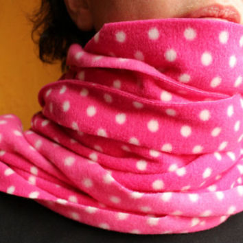 Pink Fleece Scarf White Polka Dot Extra Long Extra Wide Free Shipping for 2 or More Items to the USA/ Free Shipping in Canada
