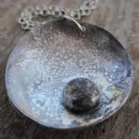 Artisan Pebble Necklace, Silver Circle Pendant, Recycled Silver Necklace