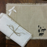 Burlap Placemats, Rustic Table Decor Set of 4