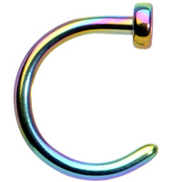 "18 Gauge 1/4"" Rainbow Anodized Titanium Nose Hoop 