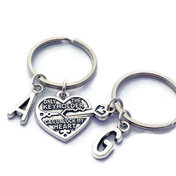 Personalized Keychains, Only The Keyholder Can Unlock My Heart, Boyfriend Christmas Gift, Silver Heart Key, Lesbian Couple Set, Silver Heart