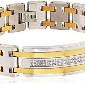 Yellow Stainless Steel Mens ID Bracelet
