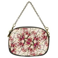 Red Deco Geometric Nature Collage Floral Motif Chain Purse (Two Sided)
