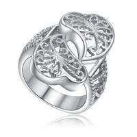 Stainless Steel Two Hearts in Love Filigree Ring