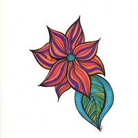 Pink, Orange and Purple Flower - Graphic marker on bristol., in Colorful Flowers - Pen & Ink Drawings