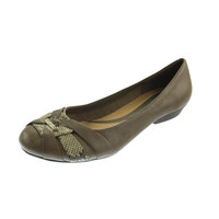 Naturalizer Womens Maude Leather Snake Print Round-Toe Shoes