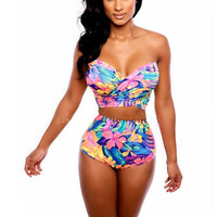 High Waist Bikini Set Bandage Swimsuit Crossover Swimwear Women's Bathing Suit