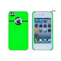 Neon Green Chrome Case for Apple iPhone 4, 4S (AT&T, Verizon, Sprint) - Includes 24/7 Cases Microfiber Cleaning Cloth [Retail Packaging by DandyCase]
