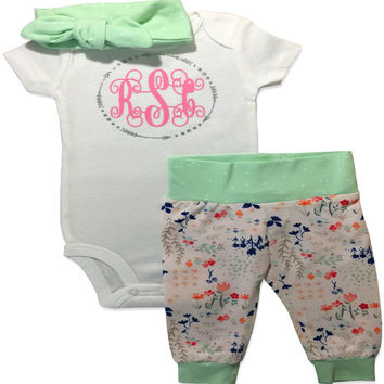 Personalized Monogrammed Baby Girl Outfit