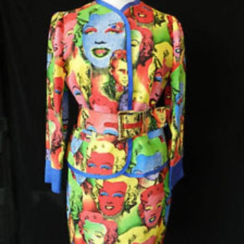 **Rare & Auth** GIANNI VERSACE Marilyn Monroe/James Dean Andy Warhol Skirt Suit