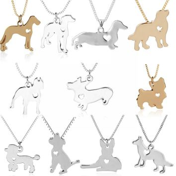 Fashion Dog Pendant Necklace Pet Dog Memorial Gift, Welsh Corgi Labrador Pitbull Husky Alaskan Akita Boxer Corgi Dropshipping