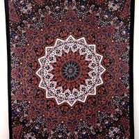 Twin Brown Psychedelic star mandala tapestry tapestries hippie bedspread wall hanging dorm decor