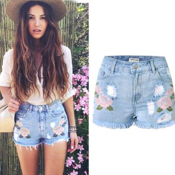 High Waist Ripped Hole Wash Denim Jeans Shorts Pants