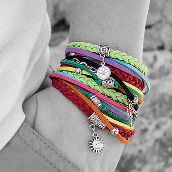 Gypsy boho bracelet Multicolor hippie bracelet Colorful wrap Om charm bracelet Double wrap leather Festival jewelry Gypsy boho style