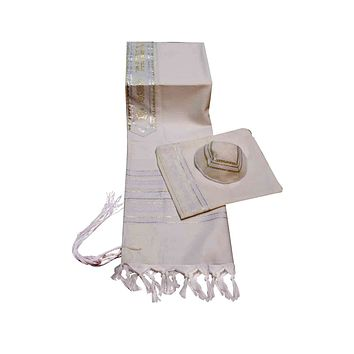 Carmel Woven White / Gold Knit Prayer Shawl - 3 Piece Set