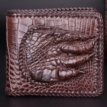 100% genuine alligator skin leather men wallet crocodile leather skin wallets and purse, luxury money clip for business men