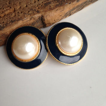 Vintage Earrings, Clip On Earrings, Enamel Earrings, Navy and Pearl Earrings, Big Earrings, 80's Earrings, 1980's Earrings, New Old Stock