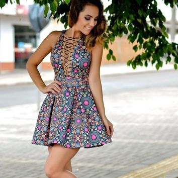 Floral Print V Neck Cross String A Line Dress