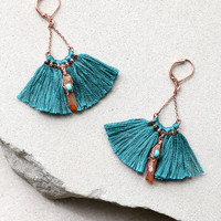 Tamara Teal Blue Tassel Earrings