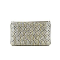 CHRISTIAN LOUBOUTIN WOMEN'S 3165141M546 SILVER LEATHER CLUTCH