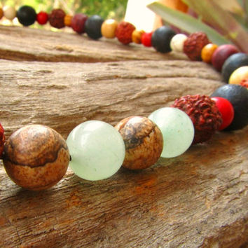 Half Mala Beaded Men's Necklace / Rudraksha Seed Jasper Jade Bone Wood & Howlite Meditation Chakra / Hippie Surfer Mens Choker Necklace