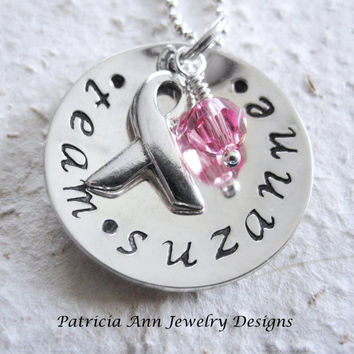 Breast Cancer Necklace Personalized Hand by Patricia8Anderson