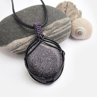 OOAK Wire wrapped blue Goldstone, black and purple stone, black and purple wire wrap, glittery stone necklace, unique necklace for women