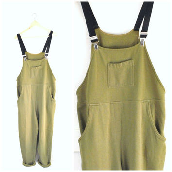 olive green jersey OVERALLS / vintage 90s MINIMALIST ooak SUSPENDER trousers dungarees