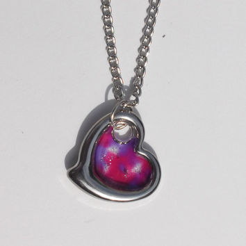 Heart (Faux Stained Glass) Necklace - Mother's day, gift, mom, sister, birthday, girlfriend, wedding, bridesmaid