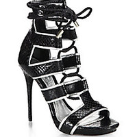 Alexander McQueen - Ankle-Tie Snake-Embossed Leather Sandals - Saks Fifth Avenue Mobile