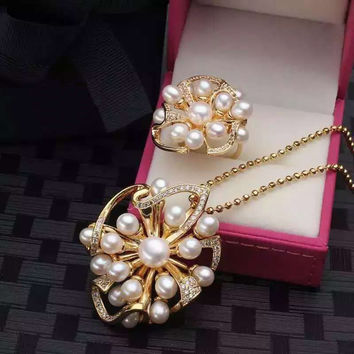Shiny Stylish Gift Jewelry New Arrival Pearls Strong Character Floral Pendant Ring Necklace [4914841796]