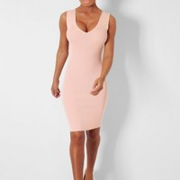 Almond Nude Bodycon Sleeveless Mini Dress | Pink Boutique