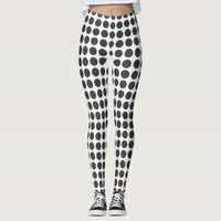 Retro look Black polka dots your color leggings