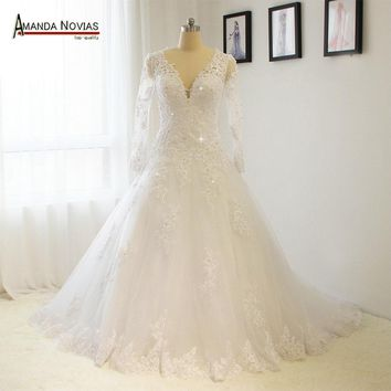 2017 Sleeves Lace Wedding Dress Sexy V Neckline wedding bouquet mariage