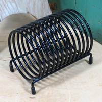 Mid Century Modern Metal Spring Coil Mail Holder . Black Desk Accessory