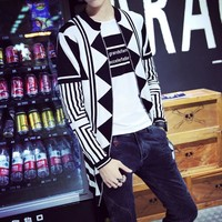 Supreme New V Mens fall collar cardigan sweater geometric men's knitted cardigan Korea