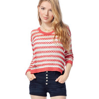 Aeropostale  Womens Sheer Open-Knit Striped Sweater - Red