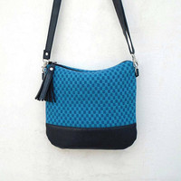 Cotton TURQUOISE hobo bag, crossbody canvas bag, blue leather crossbody purse, smaller everyday shoulder bag, leather and canvas sea purse