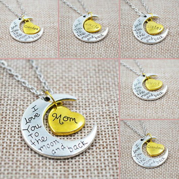 I Love You To The Moon And Back Silver Necklace -10 choices