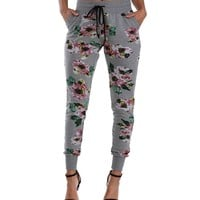 Sale-gray Floral Print Joggers