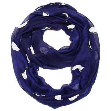 Navy  Infinity Scarf  with Penguins
