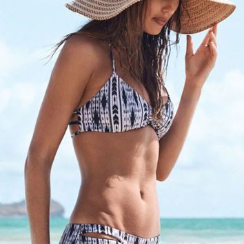 Black and White Tribal Print Halter Cut-Out Bikini