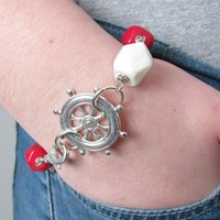 Sailor Bracelet - Coral, Agate And Sterling Silver - Wire Wrapped - Nautical Style | Luulla