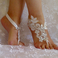 bridal anklet ivory Beach wedding barefoot sandals