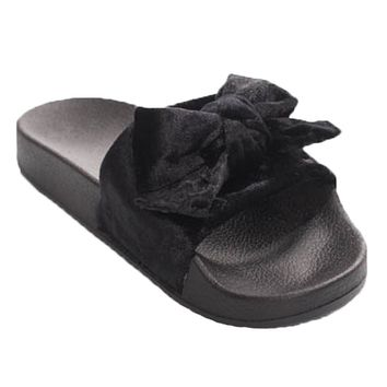 Mellie Velvet Bow Slides - Black