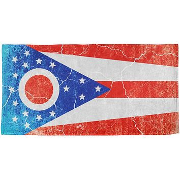 Ohio Vintage Distressed State Flag All Over Beach Towel