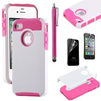 iPhone 4S Case, iPhone 4 Case, ULAK Fashion Armor Case for iPhone 4S and iPhone 4 Cover with Screen Protector and Stylus (White/Rose Pink)
